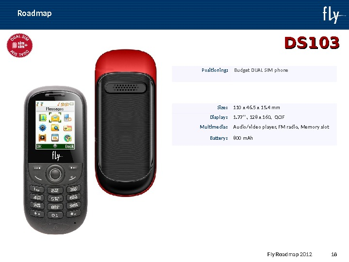 Fly Roadmap 2011 18 Roadmap DS 10 33 Positioning : Budget DUAL SIM phone Size :