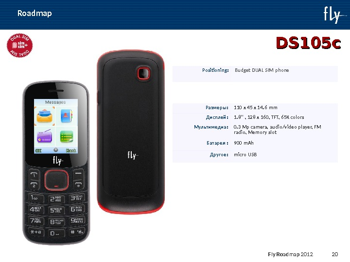 Fly Roadmap 2011 20 Roadmap DS 105 сс Positioning : Budget DUAL SIM phone Размеры: 110