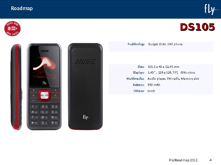 Fly Roadmap 2011 4 Roadmap DS 105 Positioning : Budget DUAL SIM phone Size : 103.