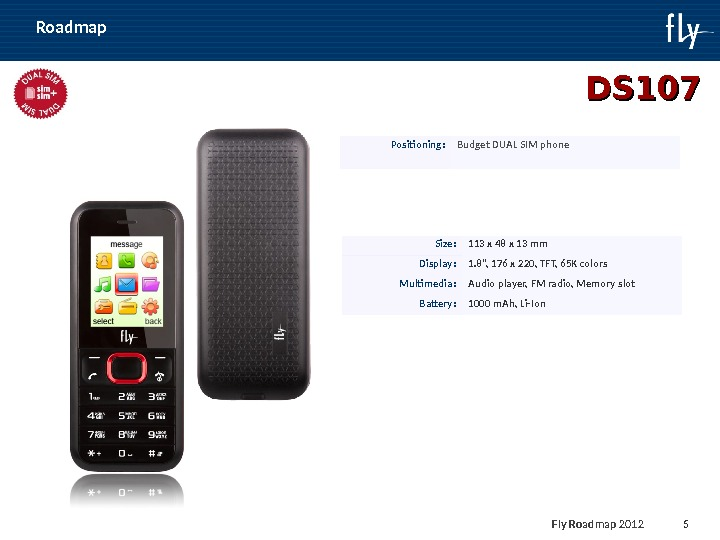 Fly Roadmap 2011 5 DS 107 Positioning : Budget DUAL SIM phone Size : 113 х