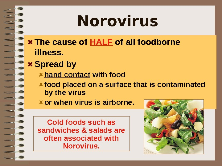 Norovirus  The cause of HALF of all foodborne illness.  Spread by hand contact with