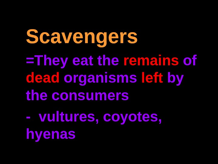 Scavengers =They eat the remains of dead organisms left by the consumers - vultures, coyotes,