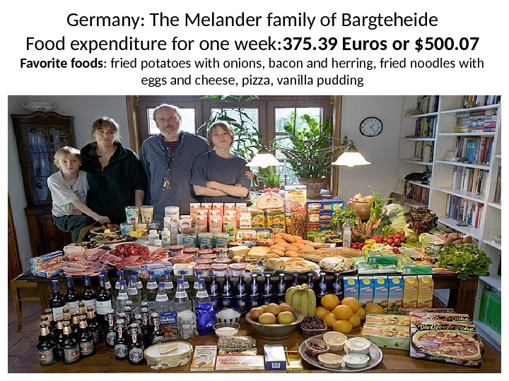 Germany: The Melander family of Bargteheide Food expenditure for one week: 375. 39 Euros or $500.