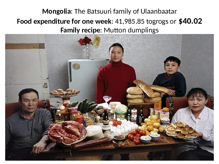 Mongolia : The Batsuuri family of Ulaanbaatar Food expenditure for one week : 41, 985. 85