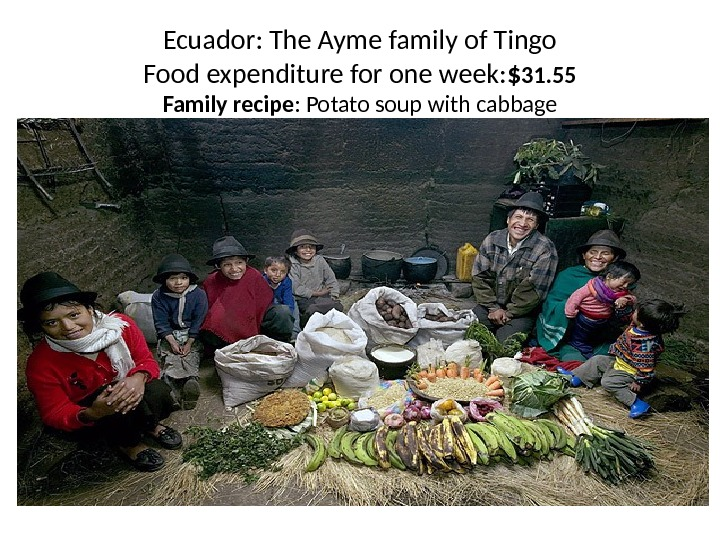 Ecuador: The Ayme family of Tingo Food expenditure for one week: $ 31. 55 Family recipe