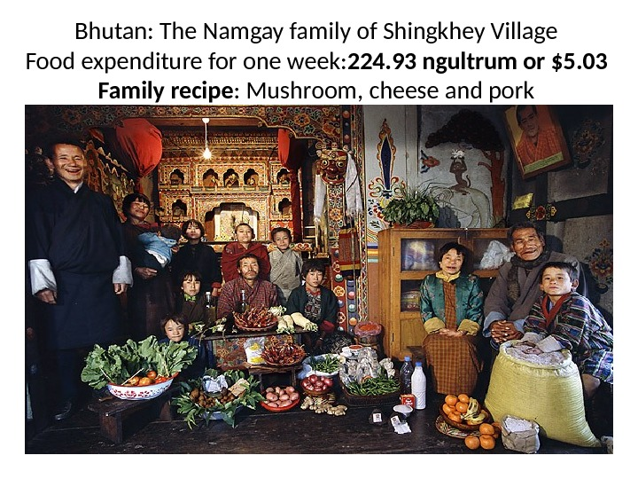 Bhutan: The Namgay family of Shingkhey Village Food expenditure for one week: 224. 93 ngultrum or