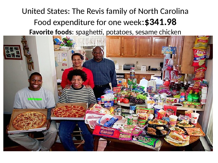 United States: The Revis family of North Carolina Food expenditure for one week : $341. 98