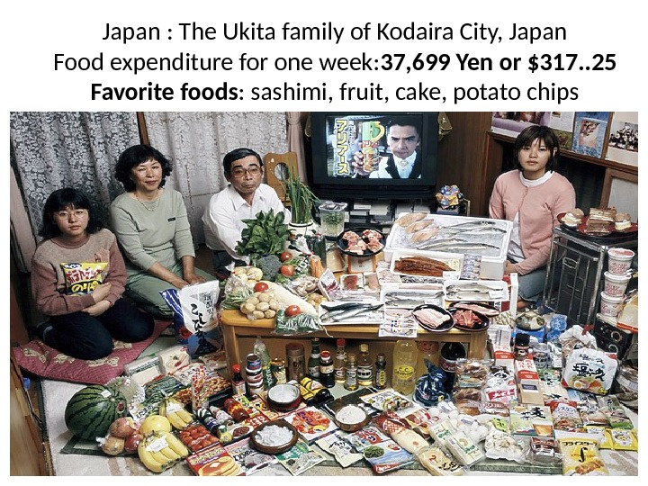 Japan : The Ukita family of Kodaira City, Japan Food expenditure for one week: 37, 699