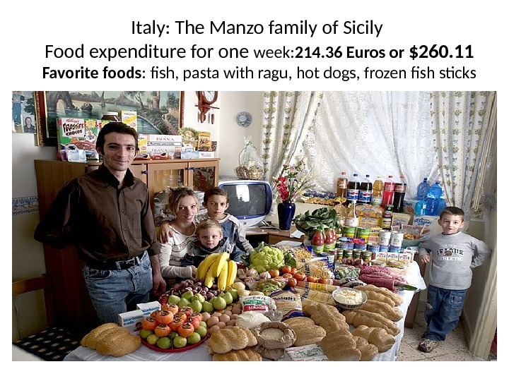 Italy: The Manzo family of Sicily Food expenditure for one week: 214. 36 Euros or $260.