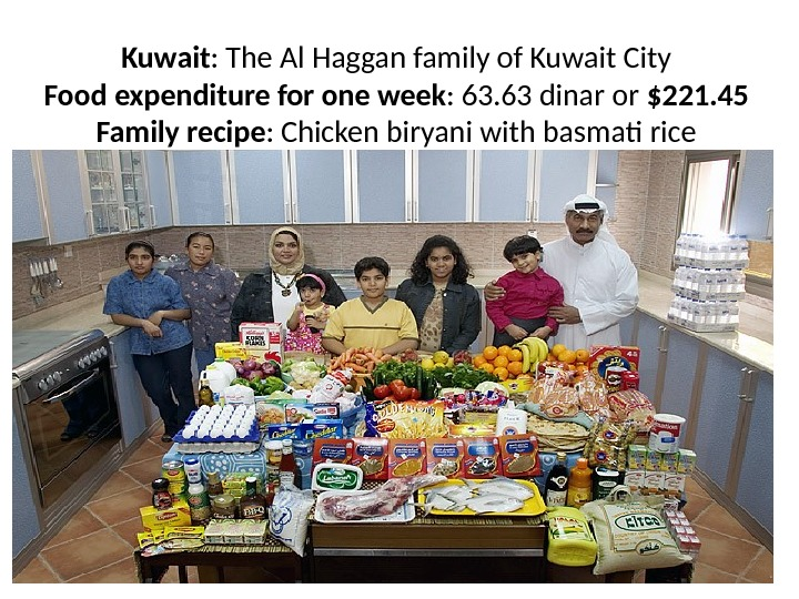 Kuwait : The Al Haggan family of Kuwait City Food expenditure for one week : 63.