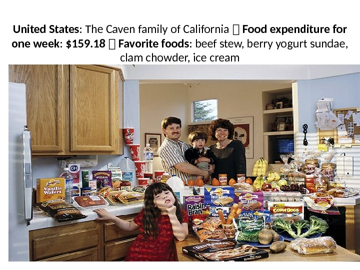 United States : The Caven family of California 1 Food expenditure for one week :