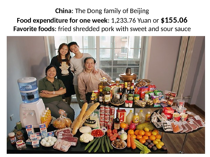 China : The Dong family of Beijing Food expenditure for one week : 1, 233. 76