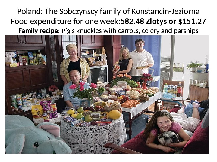 Poland: The Sobczynscy family of Konstancin-Jeziorna Food expenditure for one week: 582. 48 Zlotys or $151.
