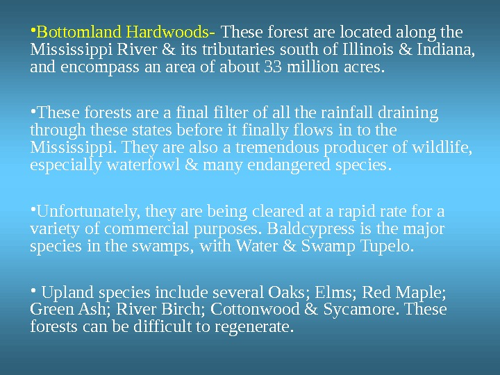 • Bottomland Hardwoods-  These forest are located along the Mississippi River & its tributaries