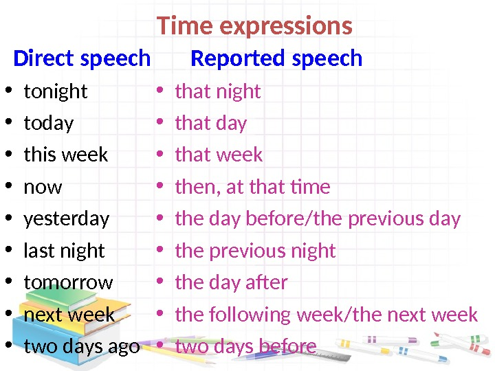 Time expressions  Direct speech • tonight • today • this week • now •