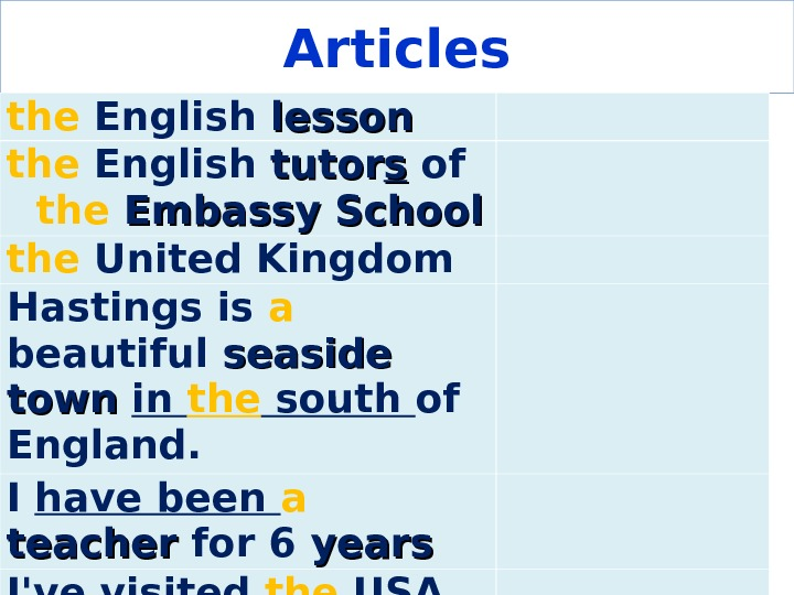 Articles the English lesson the English tutor ss of the  Embassy  School the United