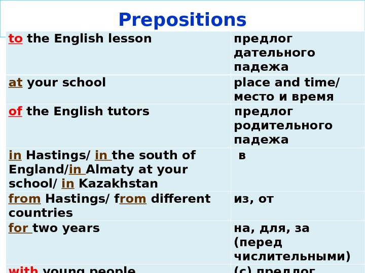 Prepositions to the English lesson  предлог дательного  падежа at your school  place and