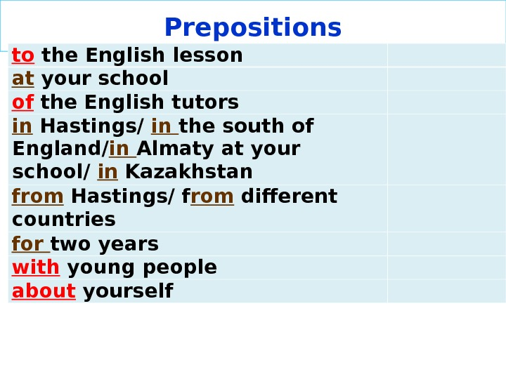 Prepositions to the English lesson  at your school  of the English tutors in Hastings/