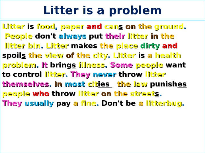Litter is a problem Litter  isis  food , ,  paper  andand
