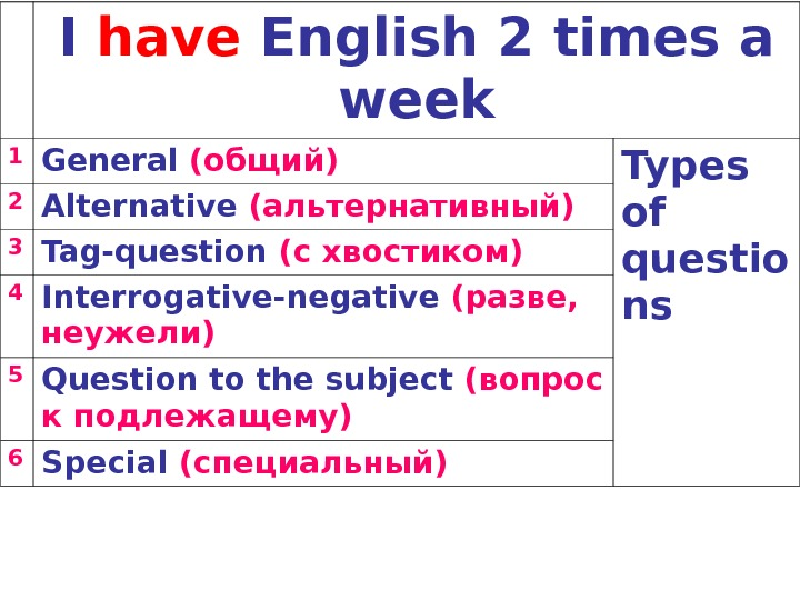 I have English 2 times a week 1 General (общий) Types of questio ns 2 Alternative