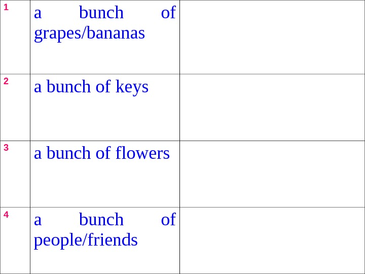1 a bunch of grapes/bananas 2 a bunch of keys 3 a bunch of flowers 4