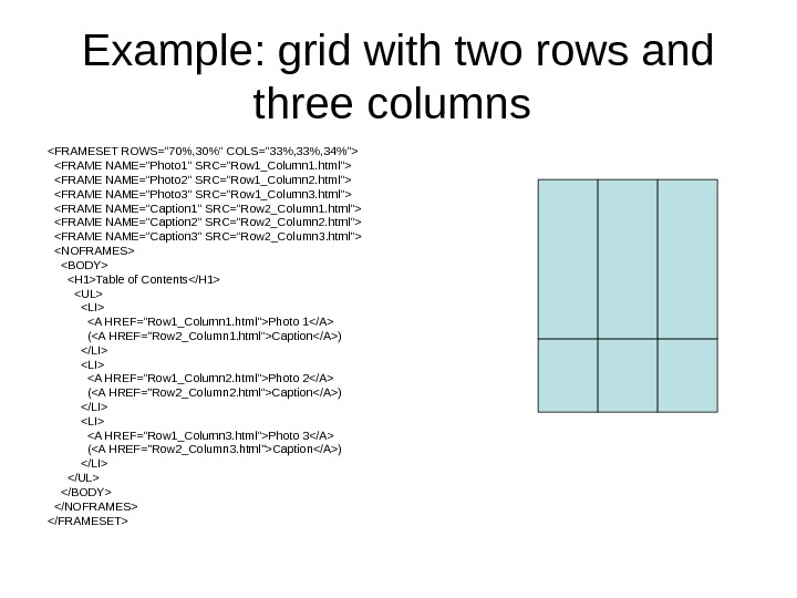 Example: grid with two rows and three columns FRAMESET ROWS=70, 30 COLS=33, 34  FRAME NAME=Photo