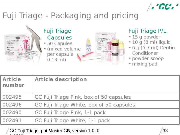 GC Fuji Triage, ppt Master GB, version 1. 0, 0 9/2006 33 Fuji Triage - Packaging