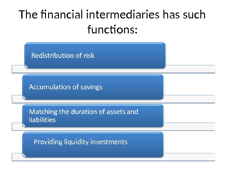 The financial intermediaries has such functions: Providing liquidity investments