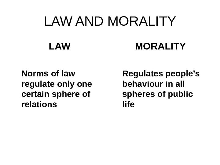 LAW AND MORALITY LAW Norms of law regulate only one certain sphere of relations
