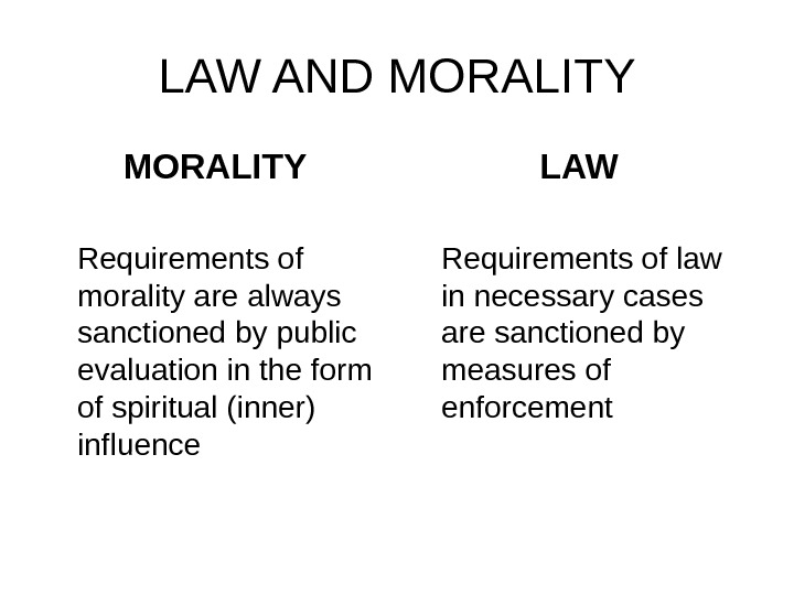 LAW AND MORALITY Requirements of morality are always sanctioned by public evaluation in the