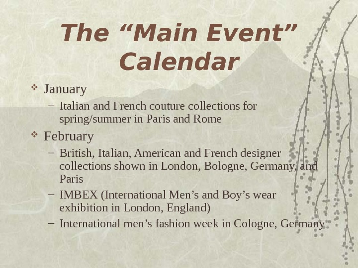 "The ""Main Event"" Calendar January – Italian and French couture collections for spring/summer in"