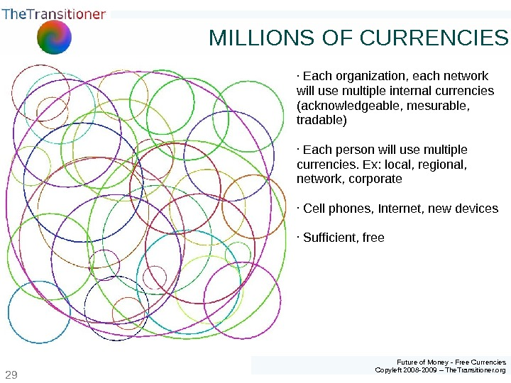Future of Money - Free Currencies Copyleft 2008 -2009 – The. Transitioner. org 29 MILLIONS OF
