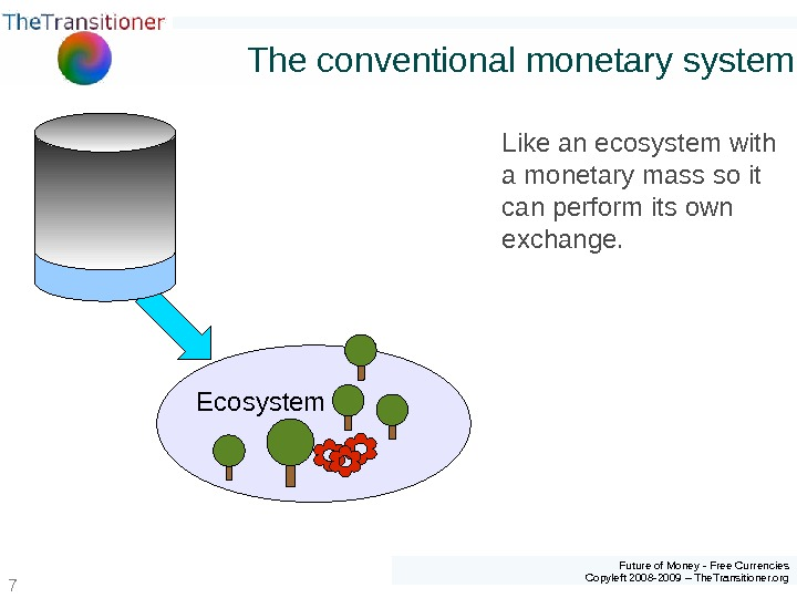 Future of Money - Free Currencies Copyleft 2008 -2009 – The. Transitioner. org 7 The conventional
