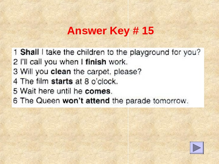 Answer Key # 15