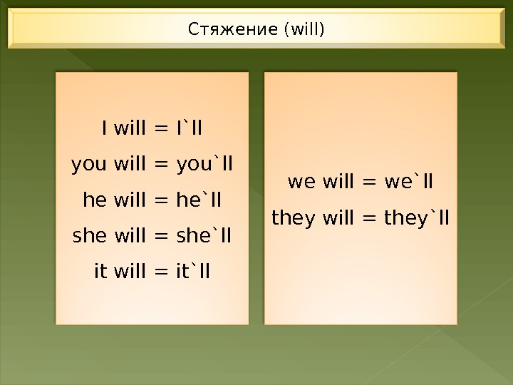 Стяжение (will) I will = I`ll you will = you`ll he will = he`ll she will