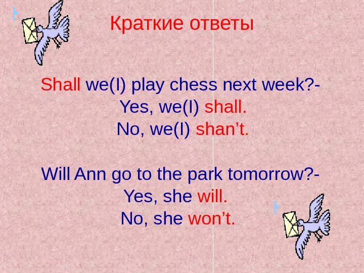 Shall we(I) play chess next week? -  Yes, we(I) shall.  No, we(I)