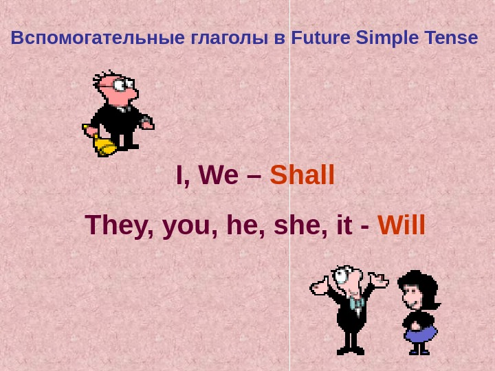 Вспомогательные глаголы в Future Simple Tense I, We –  Shall They, you, he,