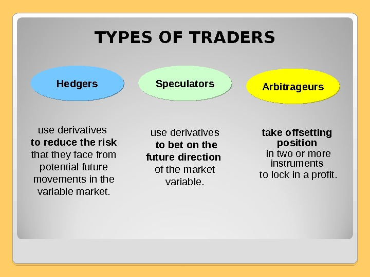 TYPES OF TRADERS Hedgers Speculators Arbitrageurs use derivatives  to bet on the future direction