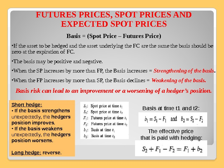 FUTURES PRICES, SPOT PRICES AND EXPECTED SPOT PRICES Basis = (Spot Price – Futures Price) •