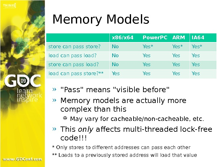 Memory Models » Pass means visible before » Memory models are actually more complex than this
