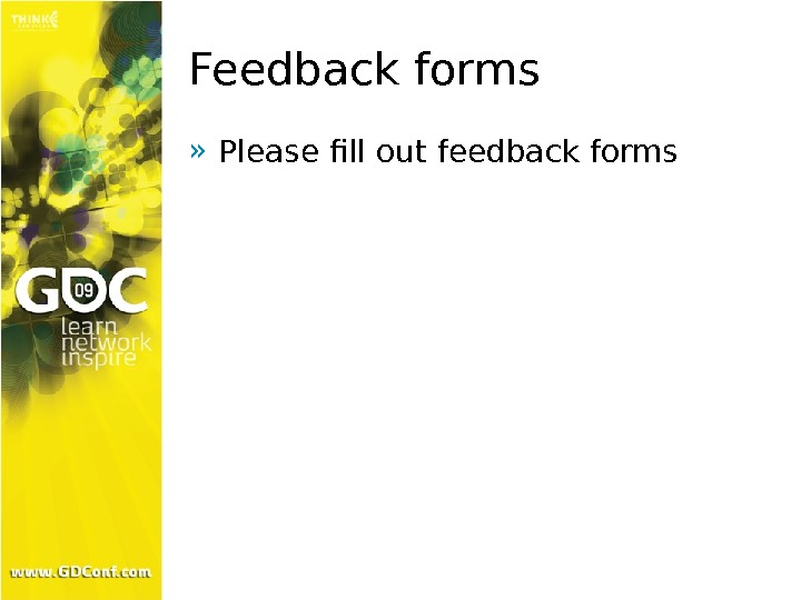 Feedback forms » Please fill out feedback forms