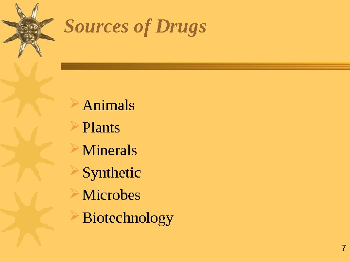 7 Sources of Drugs Animals Plants  Minerals Synthetic Microbes Biotechnology