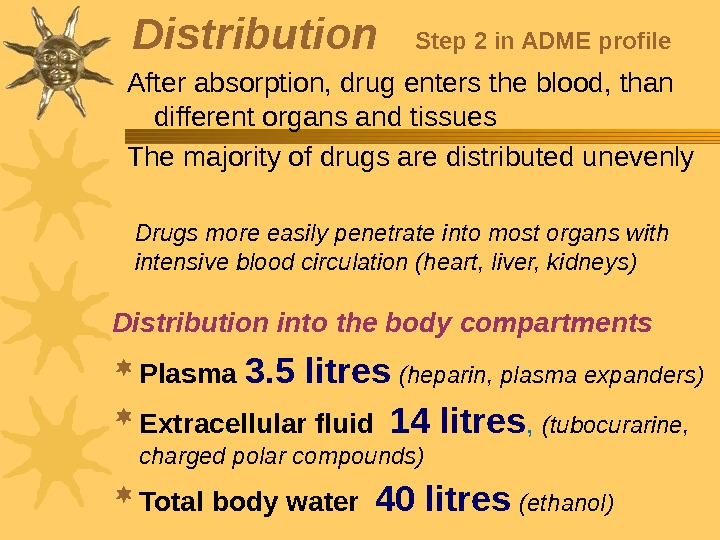 Distribution  Step 2 in ADME profile After absorption, drug enters the blood, than different organs