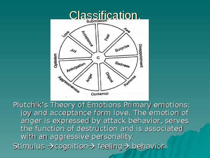 Classification. Plutchik's Theory of Emotions Primary emotions:  joy and acceptance form love. The emotion of