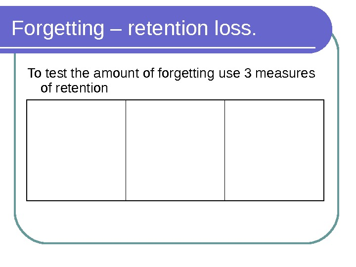 Forgetting – retention loss. To test the amount of forgetting use 3 measures of retention Recall