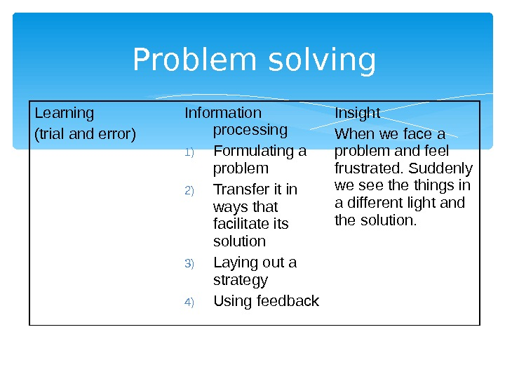 Problem solving Learning (trial and error) Information processing 1) Formulating a problem 2) Transfer it in