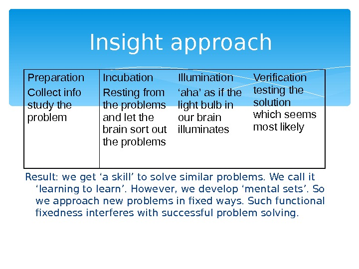 Insight approach Result: we get 'a skill' to solve similar problems. We call it 'learning to