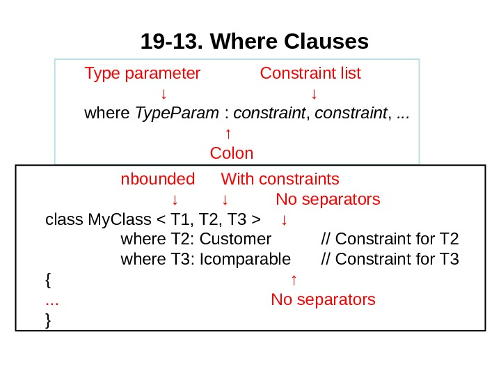 19 -13.  Where Clauses Type parameter Constraint list ↓ ↓ where Type. Param :