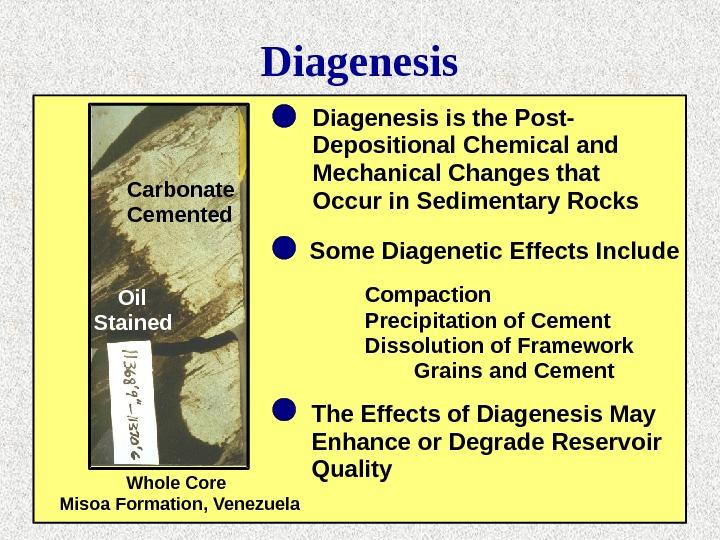 Diagenesis Carbonate Cemented Oil Stained Diagenesis is the Post- Depositional Chemical and Mechanical Changes that Occur