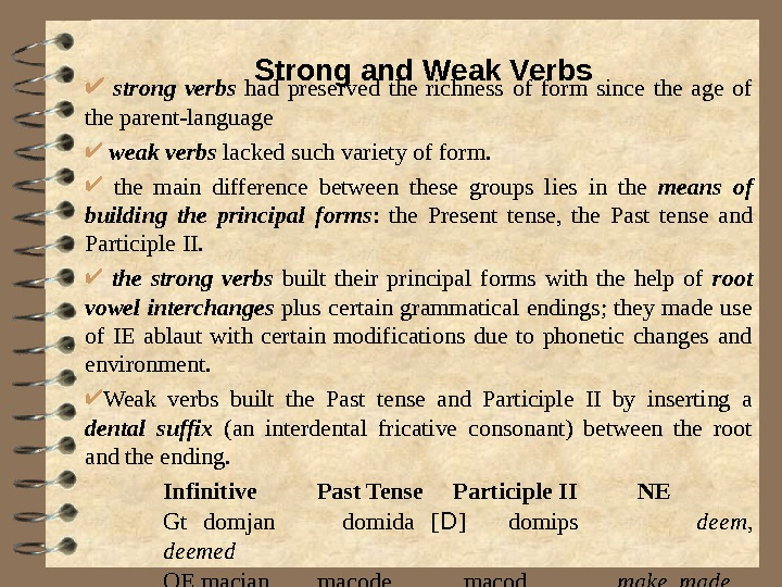strong verbs had preserved the richness of form since the age of the parent-language